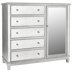 Hayworth Mirrored Silver Dresser   Dresser, Drawers and Bedrooms
