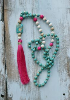 Long Beaded Necklace Boho Tassel Necklace by FlowersInMyHairShop