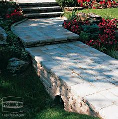 Browse the : Inspiration page from Permacon, the specialist in landscaping and masonry! Paver Pathway, Walkways, Driveways, Sheffield, Dry Creek Bed, Interlocking Bricks, Pool Contractors, Concrete Pavers, Pool Decks