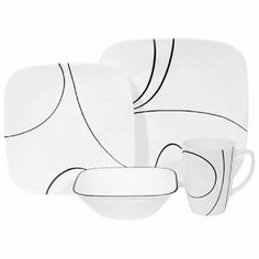 16pc Set Simple Lines – 4 dinner plates, 4 side plates, 4 cereal bowls & 4 mugs  Elegant in its simplicity, and somewhat reminiscent of Picasso's abstract lines, this set of Corelle is quite smart. Imagine how lovely it would look on your own dinner table! Durable and versatile, the design is long-lasting and refuses to fade or chip away. Suitable for everyday use, yet, chic enough for dinner guests.