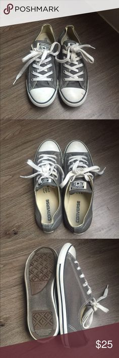 Grey converse Almost brand new grey converse. Maybe worn once or twice. They are the slim ones. Open to offers! Converse Shoes Sneakers