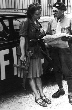 French  freedom fighters  You gotta love a woman packing a Thompson!