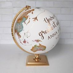 Travel Globe with Pins Airplane Hearts Travel Line Custom Painted Globe Pins Marking Your Favorite Destinations 12 Diameter Painted Globe, Hand Painted, Silver Leaf Painting, Wedding Hands, Ocean Colors, Repurposed Items, Travel Themes, Custom Paint, My Room