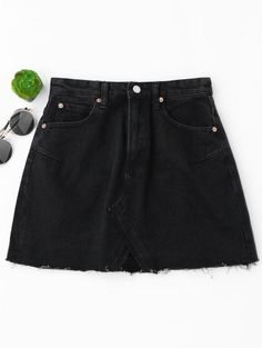 SHARE & Get it FREE | High Waisted Cutoffs Mini Denim Skirt - Black SFor Fashion Lovers only:80,000+ Items • New Arrivals Daily Join Zaful: Get YOUR $50 NOW!