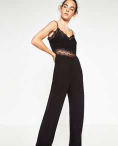LONG JUMPSUIT WITH LACE DETAIL-JUMPSUITS-WOMAN | ZARA United States