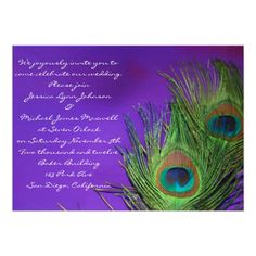 Purple Foil Peacock Wedding Invitations