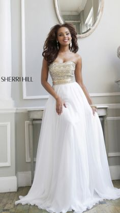 Gorgeous white prom dress by Sheri Hill