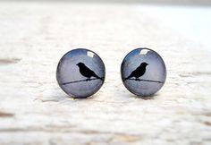 Bird Earrings in Grey Blue Black Ear Studs, Small Bird Ear Posts Earrings, Gift Bridesmaids (E3)