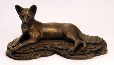 производитель не известны Красивая бронзовая кошка статуэтка, с ушами кололи, ищущих оповещения Средней сложности большого размера. Похоже, его вдохновил Э. Fremiet. - 24 х 12 х 12  - 90-е гг.