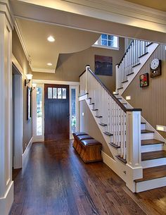 white trim and dark steps .Oak floors with dark walnut stain against simple white trim, love the wall color (painted bead board)--The paint color is Sherwin Williams Sand Beach Flat Brown Paint Colors, Best Paint Colors, Paint Colours, Neutral Paint, Gray Paint, Paint Trim, Room Colors, Paint Colors With White Trim, Cream Wall Paint