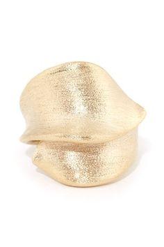 18K Gold Clad Brushed Ribbon Ring