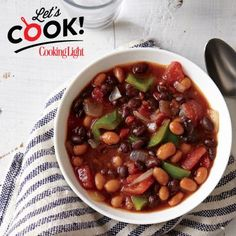 Smoky Two-Bean Vegetarian Chili—hearty chili with rich, smoky flavor and a hint of heat | CookingLight.com #FamilyDinner