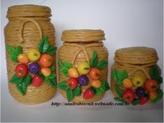 KIT POTES DECORADOS COM FRUTAS
