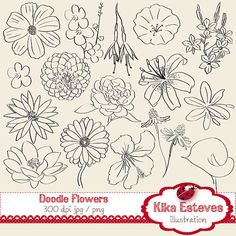 Doodle Flowers Digital Clipart - Scrapbooking , card design, invitations,ball jars,hand drawn - INSTANT DOWNLOAD on Etsy, $4.00