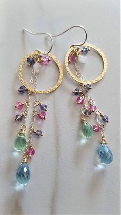 Multi Gemstone Earrings Gold And Silver Earrings Genuine