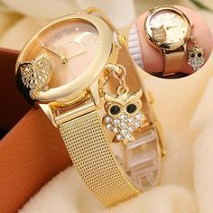 Owl Pendant Watch GINAVE Brand Quartz Women Rose Gold Stainless Steel Mesh Belt Ladies Wristwatch Female Clock Owl Relogi #androidwatch,digitalwatch,gpswatch,sportwatch,quartzwatch,luxurywatches,elegantwatches,bestwatches,beautifulwatches,menswatches,appleWatch,smartwatches,fashionwatches,aestheticwatches,casualwatches,popularwatches White Watches For Men, Cute Watches, Luxury Watches For Men, Owl Pendant, Pendant Watch, Swiss Automatic Watches, Stainless Steel Mesh, Boutique, Quartz Watch