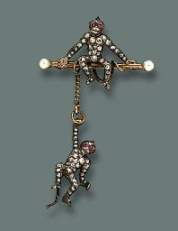 AN ANTIQUE DIAMOND AND RUBY MONKEY BROOCH | Jewelry Auction | animal, Jewelry | Christie's