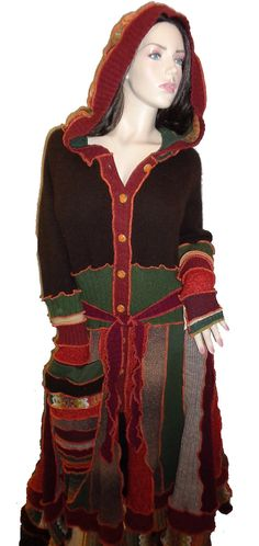 Plus size hooded elf coat of upcycled sweaters von KaleidoscopeWear