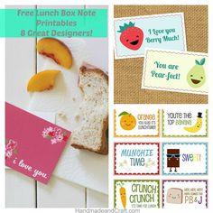 Free Lunch Box Note Printables - 8 Great Designers! HandmadeandCraft.com