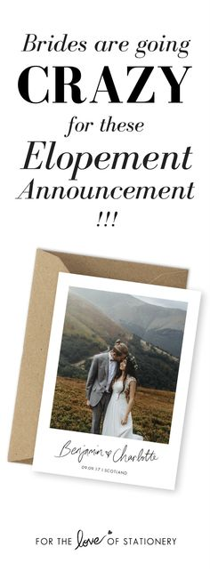 Stunning Elopement Announcement | Wedding Elopement Ideas | Rustic Wedding Invitations | For the Love of Stationery