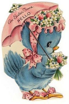 vintage easter card - adorable bluebird wearing a pink hat & carrying a pink umbrella