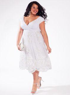 White Plus Size Short Taffeta Dresses