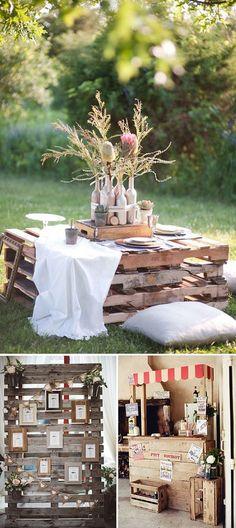 Decoracion de bodas con pallets: Inspiración e idas para decorar tu boda utilizando pallets.