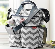 Skip Hop Duo Diaper Bag: Gray Chevron, Messenger or Tote at Pottery Barn Kids - Diaper Totes Boy Diaper Bags, Diaper Bag Backpack, Baby Kids, Baby Boy, Grey Chevron, Gray, Bags 2014, Backpack For Teens, Double Strollers