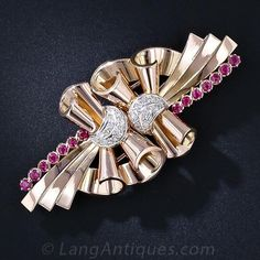Retro Diamond and Ruby Clip Brooch - 50-1-4545 - Lang Antiques