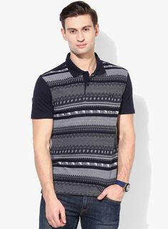 Buy John Players Navy Blue Printed Polo T-Shirt for Men Online India, Best
