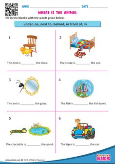 A collection of English ESL worksheets for home learning, online practice, distance learning and English classes to teach about prepositions, prepositions. Fun learning online worksheets for Kindergarten, online english printable worksheets. English Activities For Kids, English Grammar For Kids, English Worksheets For Kindergarten, Learning English For Kids, English Worksheets For Kids, English Lessons For Kids, 1st Grade Worksheets, Science Worksheets, Prepositions Worksheets