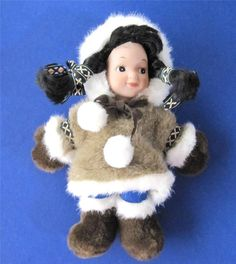 "Alaskan Eskimo Doll Furry Plush Parka Arctic Circle Enterprises 10"" tall Native  #Alaskan #Eskimo JustLuvTreasures.com"