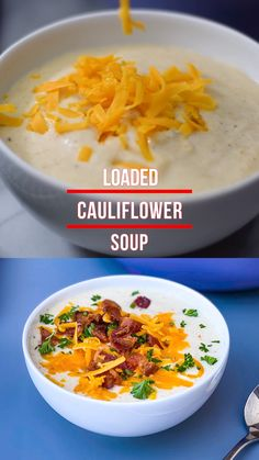 Keto Low-Carb Cauliflower Soup is a quick and easy healthy recipe using roasted cauliflower, heavy cream, and cream cheese. Serve this creamy soup loaded with bacon and shredded cheese! Cream Soup Recipes, Healthy Soup Recipes, Lunch Recipes, Pasta Recipes, Vegetarian Recipes, Chicken Recipes, Cauliflower Bacon Soup, Cauliflower Low Carb Recipes, Cream Of Cauliflower Soup Recipe