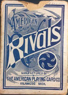 c1885 Antique American Playing Cards Company Historic Rivals Deck 52+Joker & Box | eBay