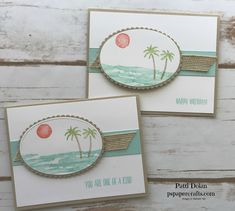 DIY Papercrafting featuring the Stampin Up Waterfront stamp set to make these beautiful tropical island cards.  The Burlap ribbon adds some texture.  Peaceful and inviting cards.