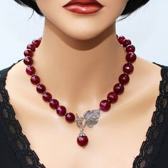 Ruby Red Agate Lariat Statement Necklace Earrings Luxury Genuine Burgundy Ruby Agate Necklace Elegan