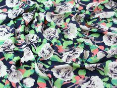 Floral Print Viscose Challis Dress Fabric Multicoloured | Fabric | Dress Fabrics | Minerva Crafts Minerva Crafts, Bow Blouse, Gingham, Printing On Fabric, Cotton Fabric, Floral Prints, Fabrics, Backgrounds, Inspiration