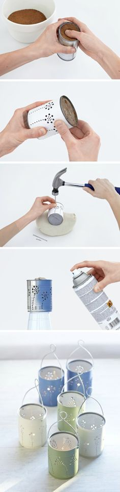 DIY Tin Can Lanterns | You will need: - Tin cans - Cloth - Mineral spirits - Sand - Paper and pencil - Sticky tape - Fabric bag filled with sand - Masonry nails - Hammer - Small locking pliers - Wire coat hangers - Small bolt cutters - Ring-bending pliers - Newspaper - Spray paint