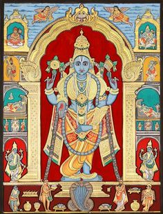 Lord Vishnu Artist: Chandrika Mysore Painting, Water Color on Paper (via Exotic India)