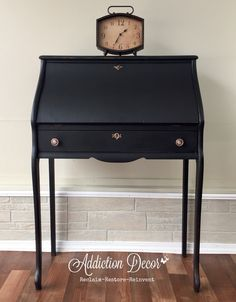 Secretary Desk makeover by Addiction Decor Desk Makeover, Furniture Makeover, Diy Furniture, Furniture Refinishing, Chalk Paint Furniture, Black Furniture, Colorful Furniture, Antique Secretary Desks, Antique Desk