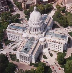 Wisconsin State capitol from above. X marks the spot.