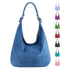 c56b715939180 Made in Italy Damen XXL Ledertasche Wildleder Shopper Tasche Schultertasche  Umhängetasche Hobo-Bag Beuteltasche