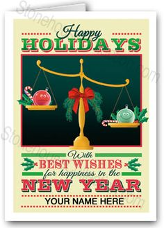 The perfect card for a law office! A great way to thank your clients for their business! Lawyer themed Happy Holidays and Happy New Year Greeting Cards. Attorney Holiday Card