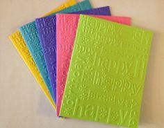 Embossed Happy Birthday Card Set 5pk by MegansPaperCreations, $9.00