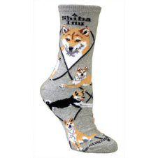 Shiba Inu Socks In Grey UK Size 3.5 to 6.5