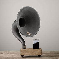 Most speakers built for the iPhone and iPad involve some sort of electronics. The Gramophone for iPhone and iPad does its work naturally. Support Ipad, Metal Horns, Life On Virginia Street, 3d Cnc, And Just Like That, Phonograph, Cool Gadgets, Restoration Hardware, Home Accessories
