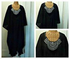 Black Metallic Caftan / Silver Bib Necklace Bodice Boho Chic Dress / Midi or Maxi / Long Kaftan / Swimsuit Cover Up / Beach One Size Cotton by SavoyFaireSpa on Etsy