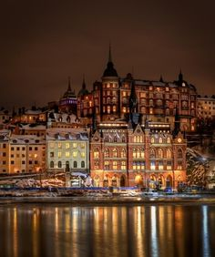 Stockholm, Sweden - Have a picture of this group of buildings from when I was there, but I never saw this area all lit up like this. I guess I have to go back.