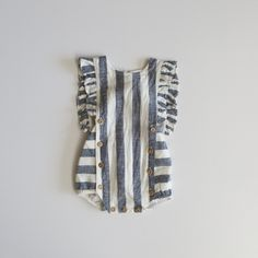 stripe romper - blue stripe / baby - the LITTLE STANDARD