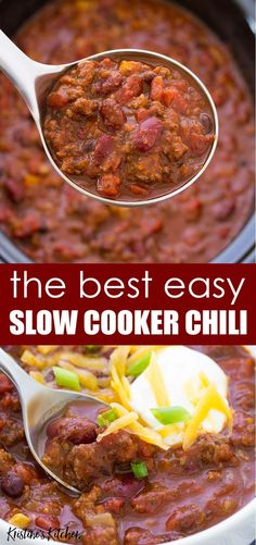 This Crockpot Chili is so thick and hearty and easy to make! Make this slow cooker chili recipe with ground beef or turkey for a healthy chili. This homemade chili is one of the best easy crockpot meals! with ground beef easy Slow Cooker Chili Recipes With Ground Beef Or Turkey, Ground Beef Crockpot Recipes, Homemade Chili Crockpot, Crockpot Beef Chili, Crackpot Chili, Meals To Make With Ground Beef, Best Crockpot Meals, Best Slow Cooker Chili, Thick Chili Recipe Slow Cooker